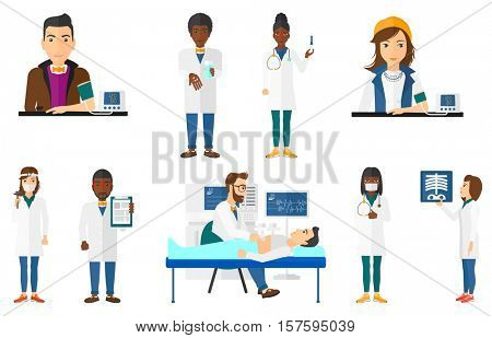 Man checking his blood pressure with digital blood pressure meter. Man taking care of his health and measuring blood pressure. Set of vector flat design illustrations isolated on white background.