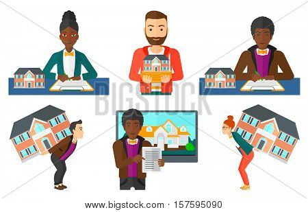 Man signing a real estate purchase contract. Real estate agent sitting at workplace with real estate purchase contract on table. Set of vector flat design illustrations isolated on white background.