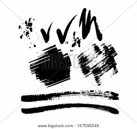 Vector large set of different grunge brush strokes. Ink brush stroke art texture and brush stroke big set. Dirty art collection brush stroke and brush stroke creative grungy element paintbrush.