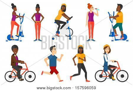 Happy business woman riding a bicycle. Cyclist riding a bicycle. Healthy business woman on a bicycle. Healthy lifestyle concept. Set of vector flat design illustrations isolated on white background.
