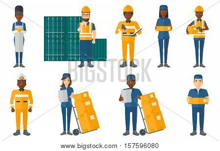 Delivery man standing near troley with cardboard boxes. Worker of delivering service holding clipboard. Man delivering parcel. Set of vector flat design illustrations isolated on white background.