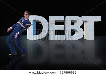 Man in debt business concept