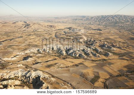 Cappadocia from air. Cappadocia, Nevsehir, Turkey. By Emre Gologlu