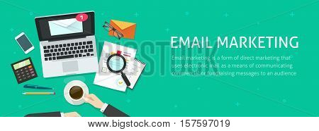 Email marketing banner vector illustration, auditor person working on workdesk with laptop, envelope, email analyzing or inspecting newsletter campaign data, analytic table top view, promotion design poster
