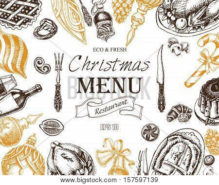 Christmas menu front page with hand drawn elements on black background vector illustration