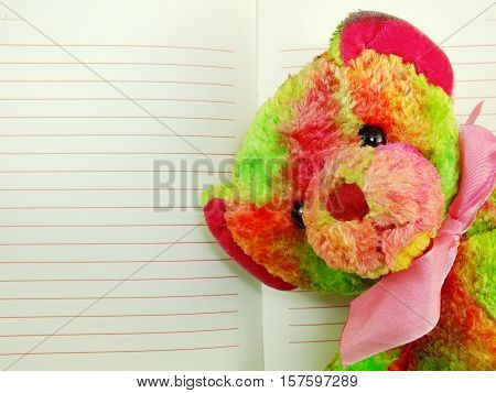 The Open Notebook Paper With Red Lines And Colorful Teddy Bear
