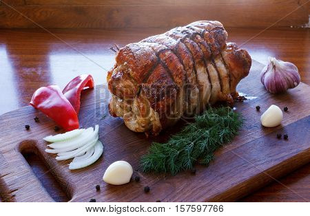 Roasted Pork Roll Stuffed With Vegetables And Garlic