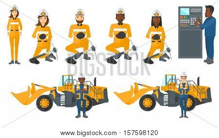 Man working on control panel. Man pressing button on control panel. Engineer standing in front of control panel. Miner with coal. Set of vector flat design illustrations isolated on white background.