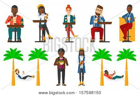 Sad man sitting in bar with glass of cocktail. Man sitting alone in bar and drinking cocktail. Woman drinking cocktail in bar. Set of vector flat design illustrations isolated on white background.