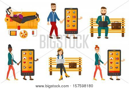 Smiling man walking with a big smartphone. Young woman holding hand of a smartphone character. Concept of addiction to smartphone. Set of vector flat design illustrations isolated on white background.
