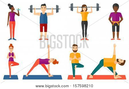 Sporty man lifting a heavy weight barbell. Strong sportsman doing exercise with barbell. Male weightlifter holding a barbell. Set of vector flat design illustrations isolated on white background.
