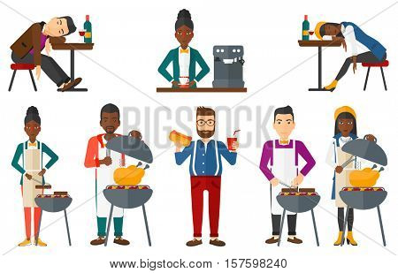 Smiling man cooking chicken on barbecue grill. Young woman having a barbecue party. Man preparing chicken on barbecue grill. Set of vector flat design illustrations isolated on white background.