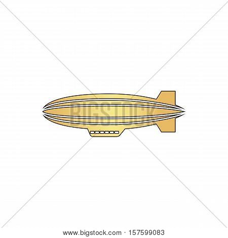 blimp Gold vector icon with black contour line. Flat computer symbol