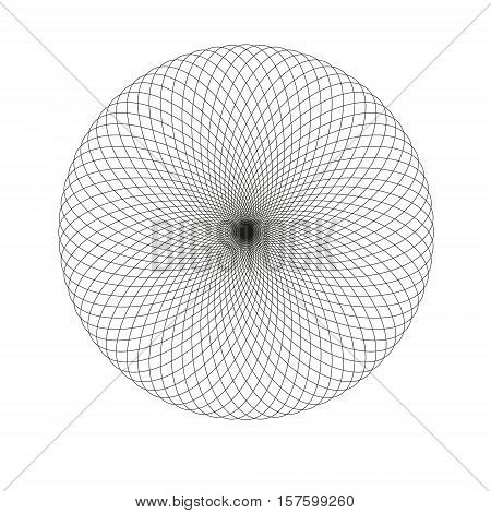 Abstract spirograph element isolated on white background