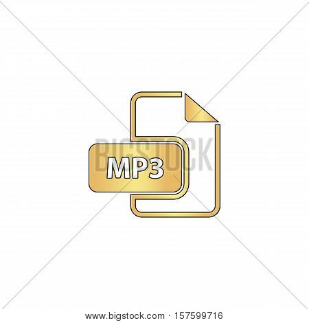 MP3 Gold vector icon with black contour line. Flat computer symbol