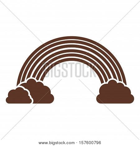 silhouette of rainbow and clouds in brown vector illustration