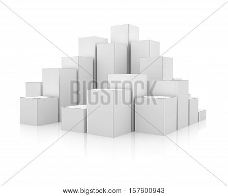 Abstract 3d illustration of white boxes. Isolated on white