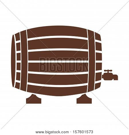 silhouette with Liquor barrel in brown color vector illustration