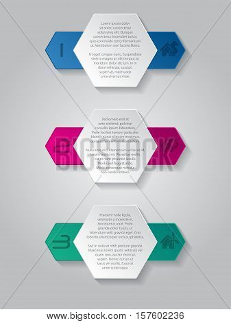 Infographics background design with house icons and hexagon elements