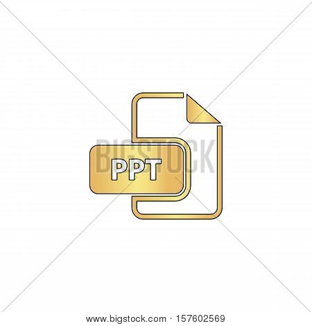 PPT Gold vector icon with black contour line. Flat computer symbol