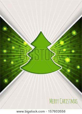 Christmas greeting card design with bursting green christmas tree