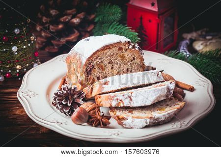 Stollen, traditional Christmas sweet holiday cake in Germany