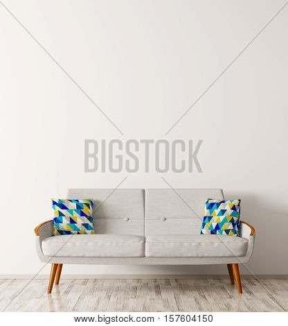 Modern interior of living room with white sofa and blue cushions 3d rendering