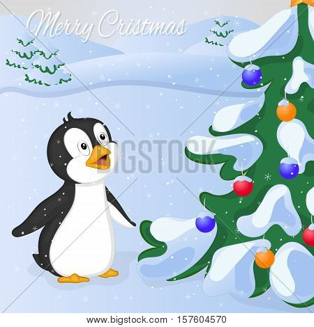 Funny and cute penguin saw Cristmas Tree at the first time. Merry Christmas and Happy New year card. Christmas card in cartoon style. Vector illustration. New Year Collection.
