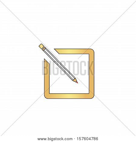 subscription Gold vector icon with black contour line. Flat computer symbol
