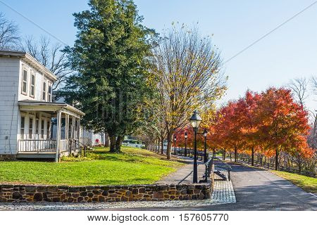 SMITHVILLE NEW JERSEY - NOVEMBER 16 - A scenic Autumn view of an old home along Park Avenue on November 16 2016 in Smithville NJ.