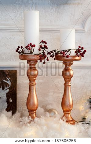 Vintage Candles On The Mantelpiece
