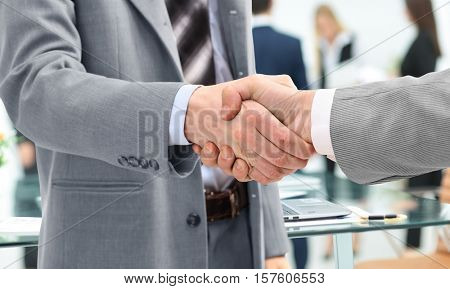 concept of success in business. handshake reliable business part