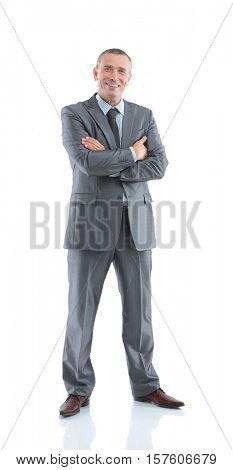 successful happy businessman in a gray business suit, openly smi