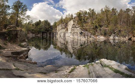 Abandoned flooded quarry called Rampa, in Jesenik region, Czech republic.