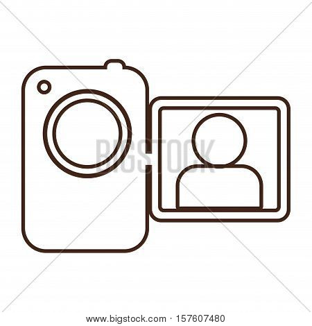 monochrome contour camcorder with lcd viewer vector illustration