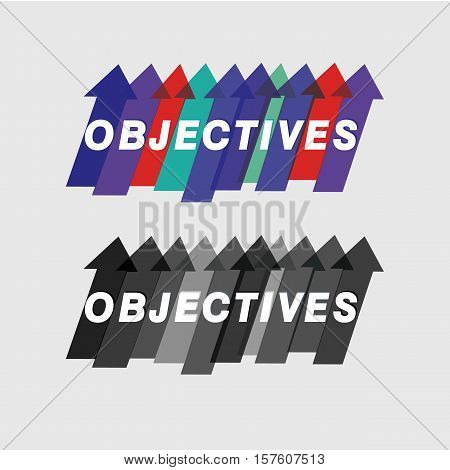 Creative colorful 'objectives' theme vector web banner
