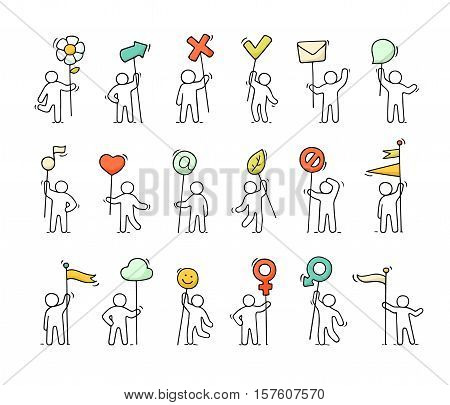 Cartoon icons set of sketch little people with life symbols. Doodle cute miniature scenes of workers with mark arrow flags. Hand drawn vector illustration for web design and infographic.