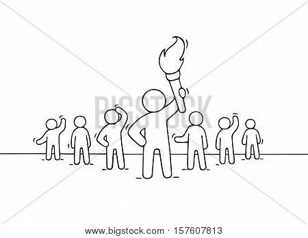 Sketch of working little people and leader with torch. Doodle cute concept about teamwork about power. Hand drawn cartoon vector illustration for business design.