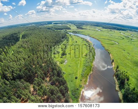 The view from the height of the river Mologa in the area Lounges