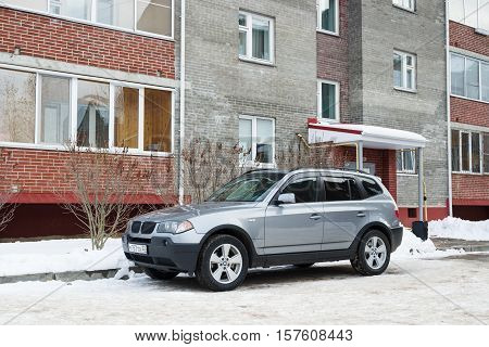 Smolensk, Russia - November 13, 2016: BMW X3 parked in winter near the house.