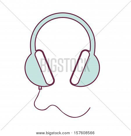 contour headset stereo sound in light blue vector illustration