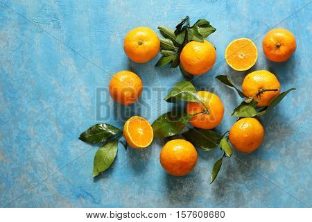 Natural organic tangerine. Ripe orange fruits mandarins.