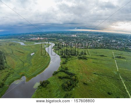 The view from the height of the river Mologa and town Maksatikha. Shooting from height of the bird's flight.