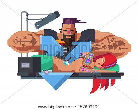 Tattoo master. Machine professional, fashion tattooing, tattooist art, artist and body, flat vector illustration