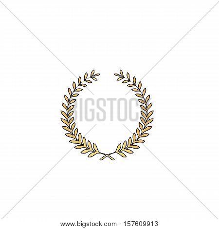 wreath Gold vector icon with black contour line. Flat computer symbol