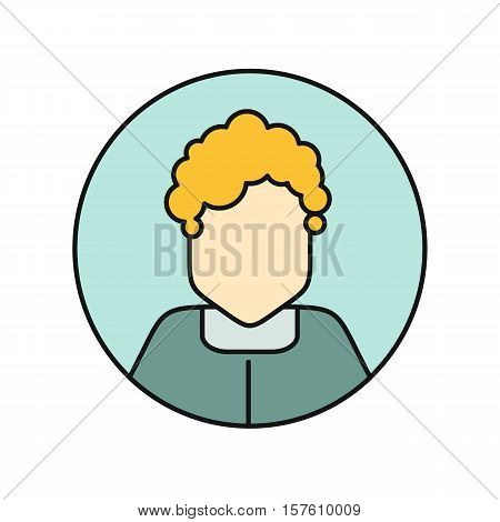 Young woman private avatar icon. Young blonde woman in blue dress. Social networks business private users avatar pictogram. Round line icon. Isolated vector illustration on white background.