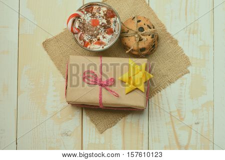 Mousse, Chip Cookies And Gift