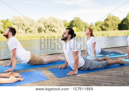 yoga, fitness, sport, and healthy lifestyle concept - group of people making upward facing dog or cobra pose on river or lake berth