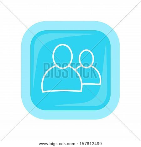 People vector icon in flat style. Social networking contacts and interaction with friends. Illustration for application button pictograms, infogpaphics elements, logo, web design. Isolated on white