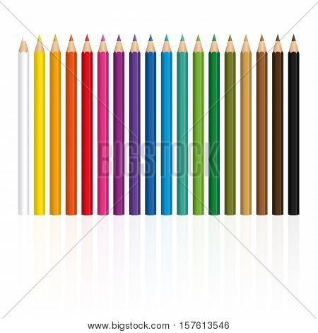 Crayons - colorful set, with wood textured tips, upright standing in a row.